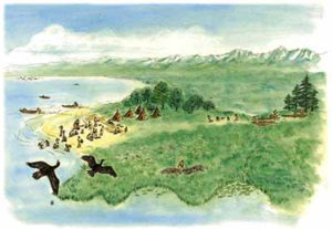 Artist's reconstruction of the Odaka shell midden (drawing by Hayakawa Kazuko)